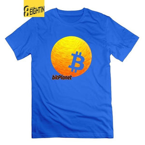 Bitcoin Planet CryptoCurrency Tees Round Neck Short Sleeve Original T-Shirts Men 100% Cotton Novelty Graphic T Shirts