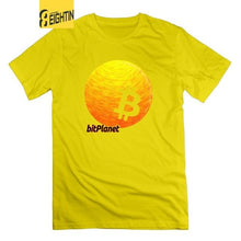 Load image into Gallery viewer, Bitcoin Planet CryptoCurrency Tees Round Neck Short Sleeve Original T-Shirts Men 100% Cotton Novelty Graphic T Shirts