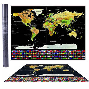 BIG Travel Tracker Scraping Off World Map Poster with US States Country Flags
