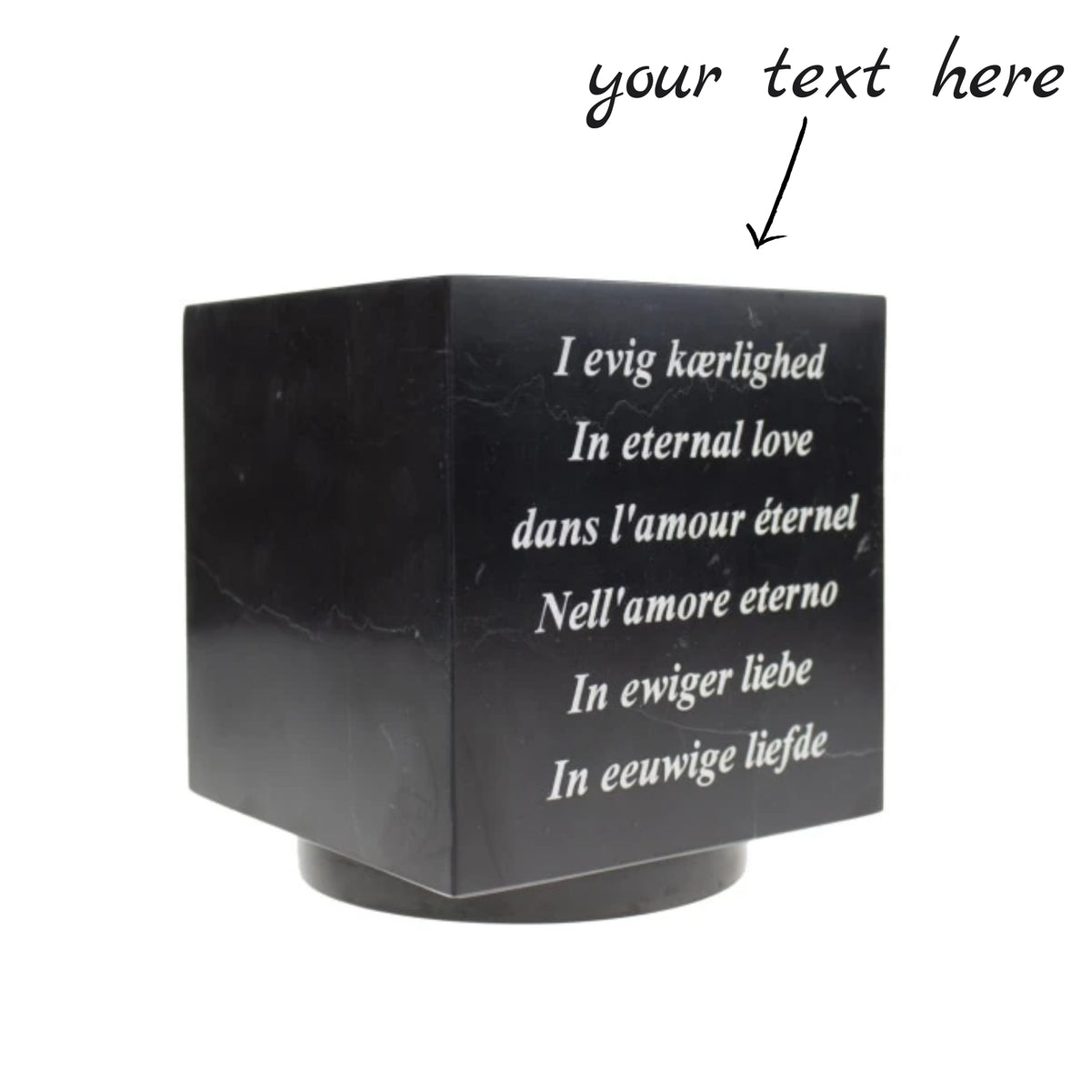 Cubos Black Marble Cube Keepsake Urn Text Engraved