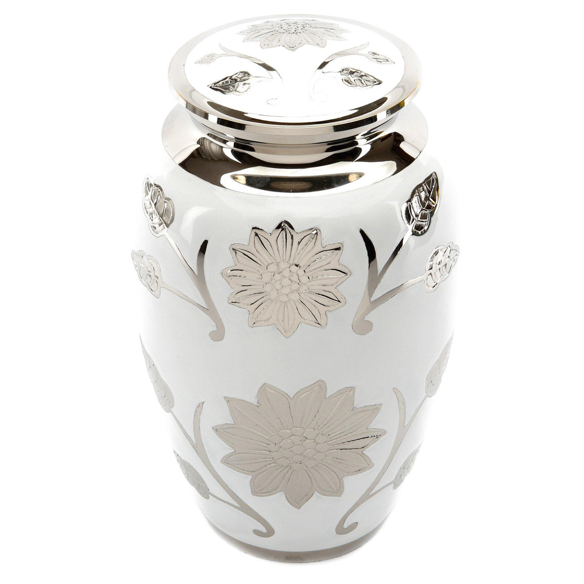 Brampton White Cremation Ashes Urn Adult - Urns UK