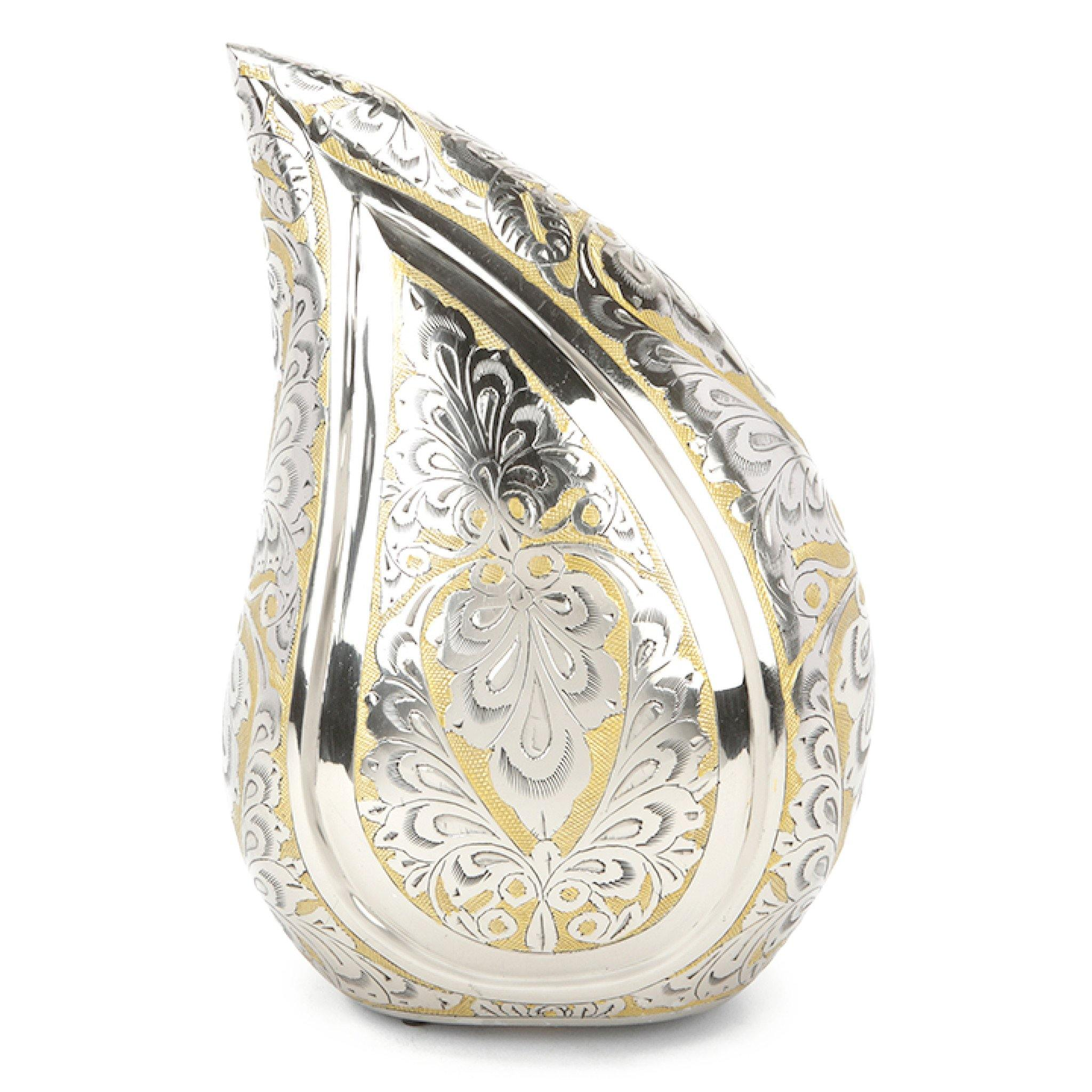 Torquay Teardrop Silver & Gold Engraved Cremation Ashes Urn Adult - Urns UK