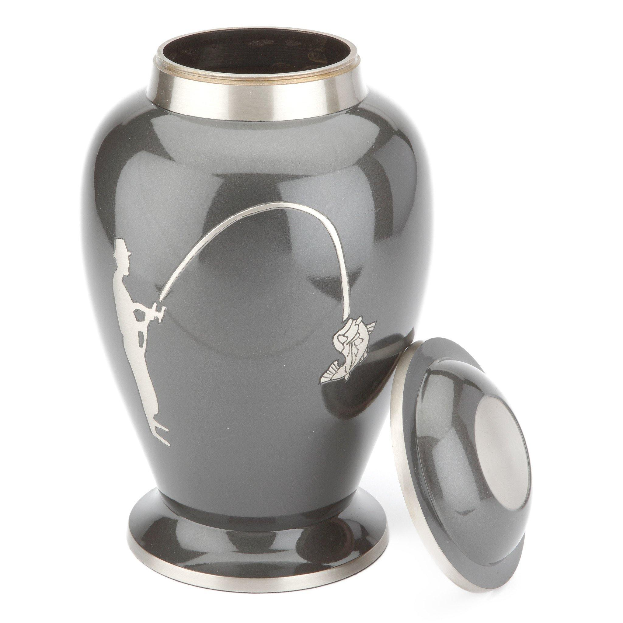 Hobby Fishing Grey Cremation Ashes Urn Adult - Urns UK