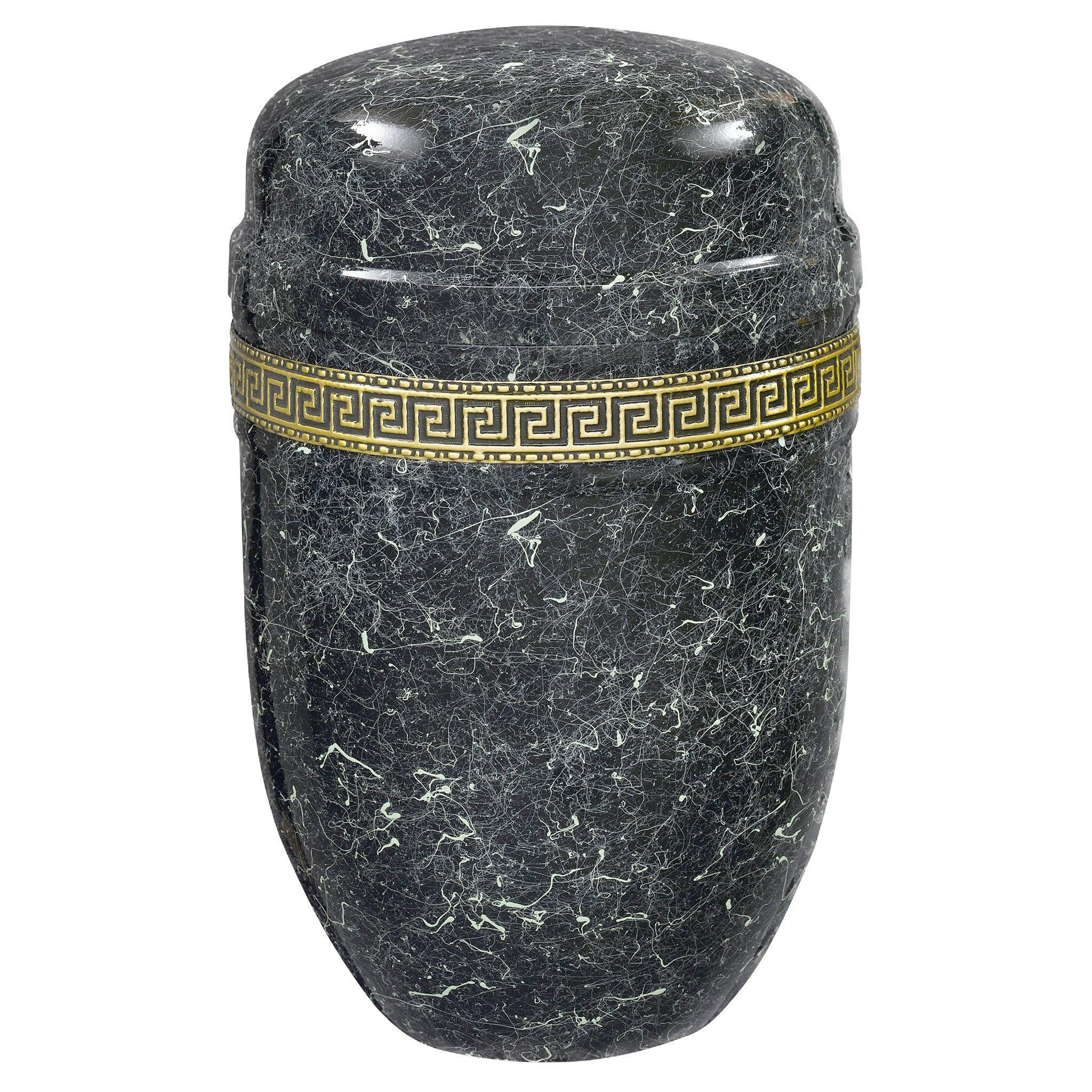 Purley Marble Band Black Cremation Ashes Urn - Urns UK