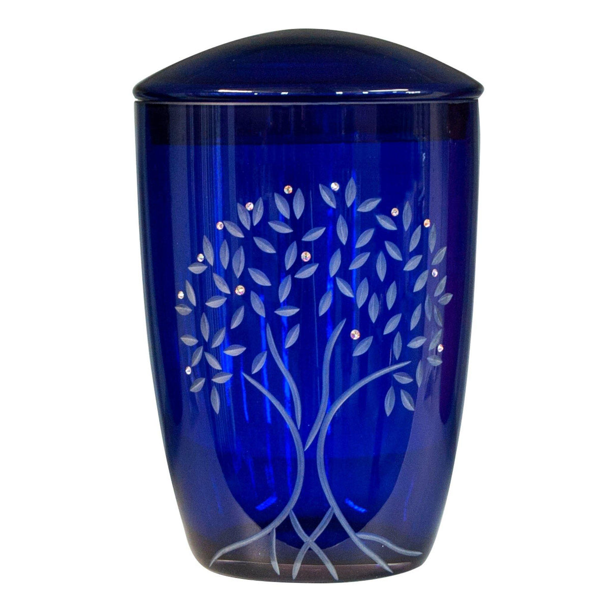 Wilton Tree Of Life Glass with Swarovski Crystal Cremation Ashes Urn Blue - Urns UK