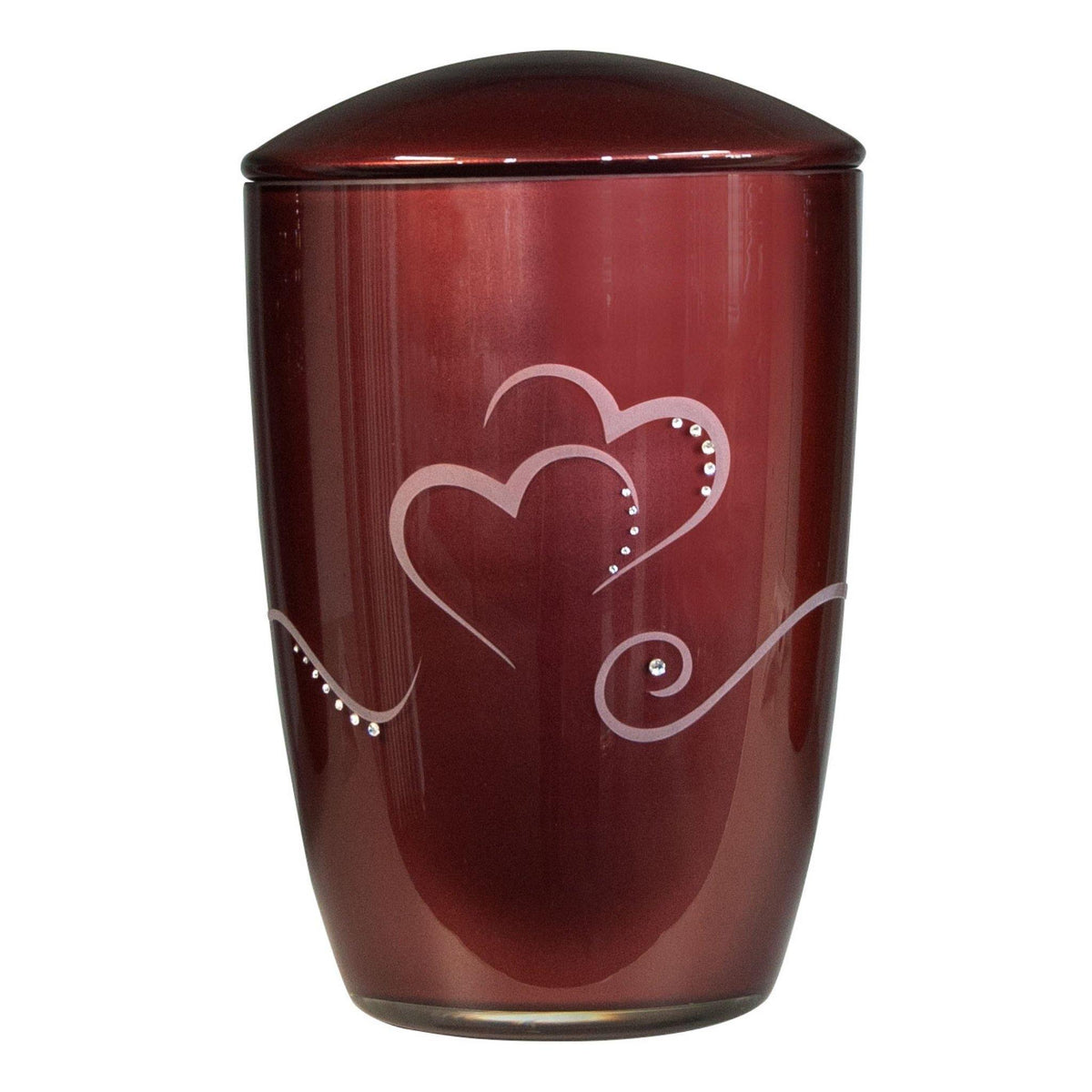 Wilton Hearts Glass with Swarovski Crystal Cremation Ashes Urn Red - Urns UK
