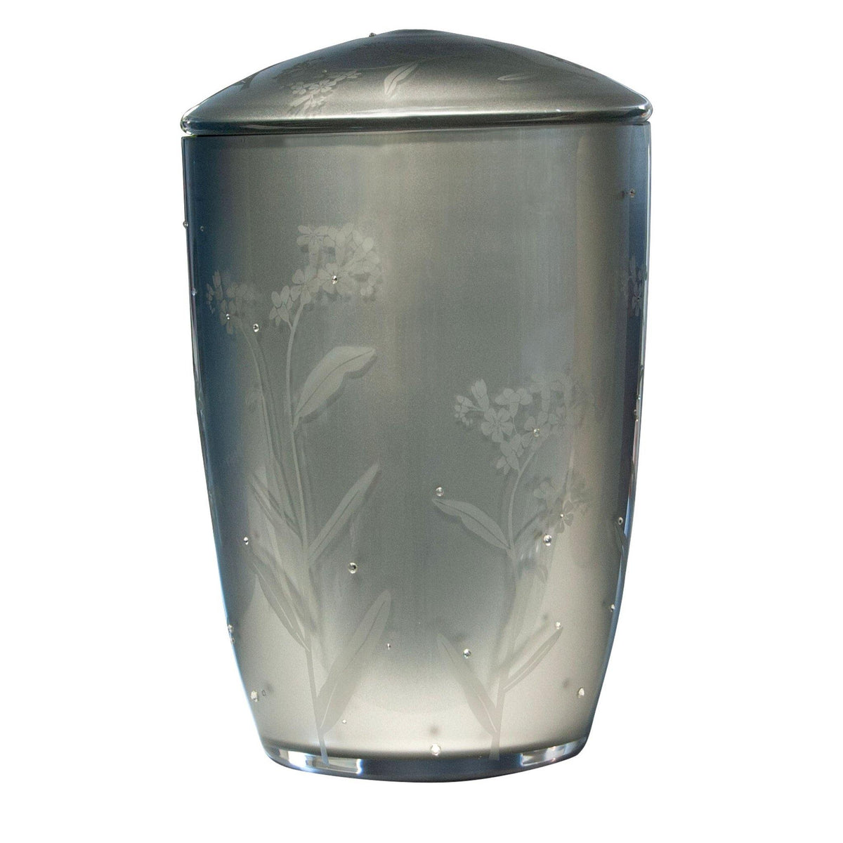 Wilton Flowers Glass with Swarovski Crystal Cremation Ashes Urn - Urns UK