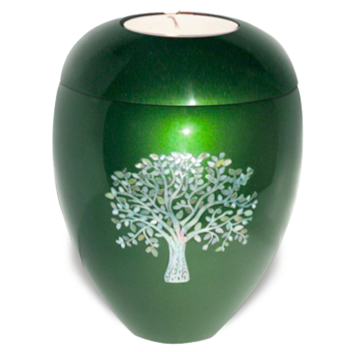 Candle Keepsake Cremation Ashes Urn Eskdale Tree Green - Urns UK