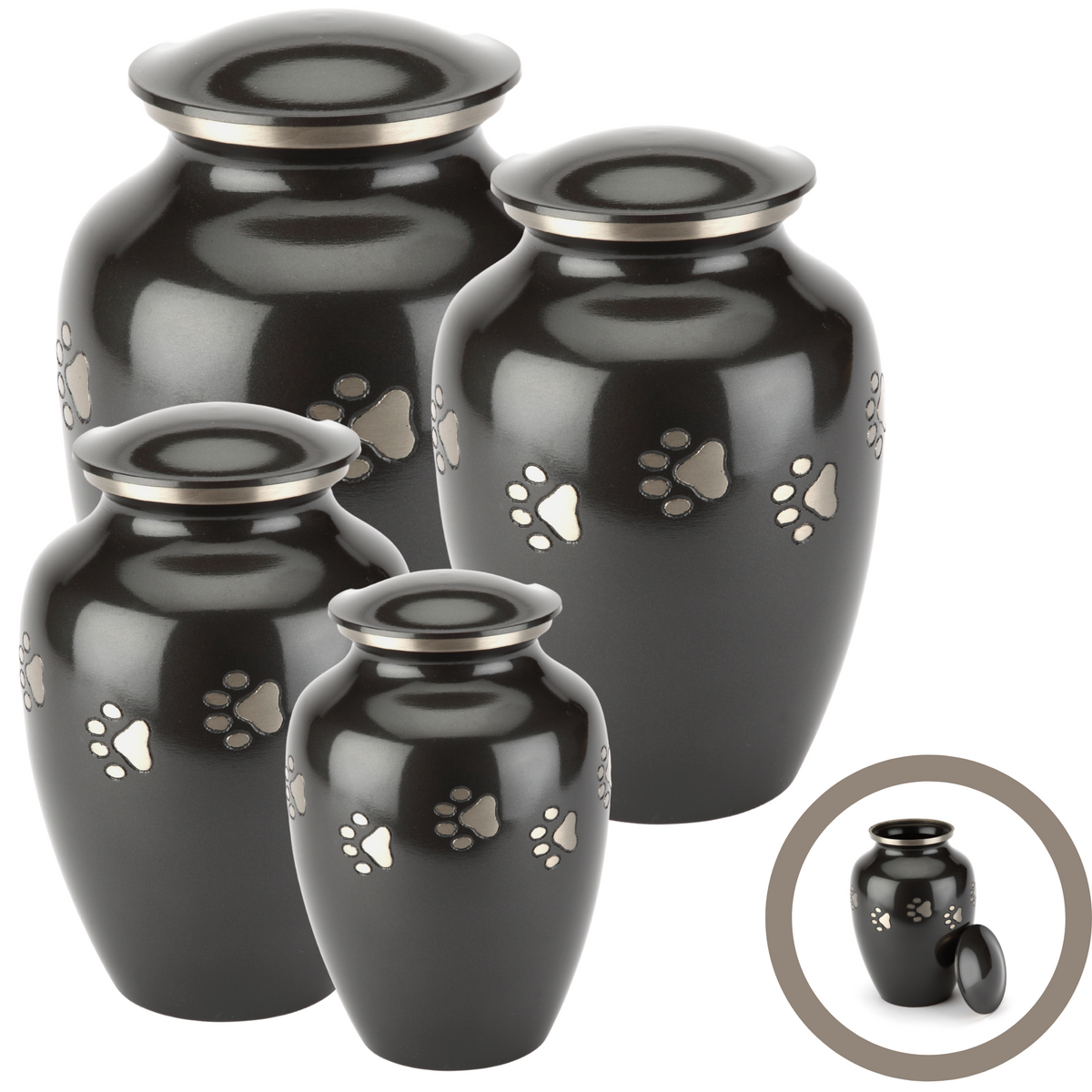 Jarrow Black Cremation Ashes Pet Urn Range - Urns UK