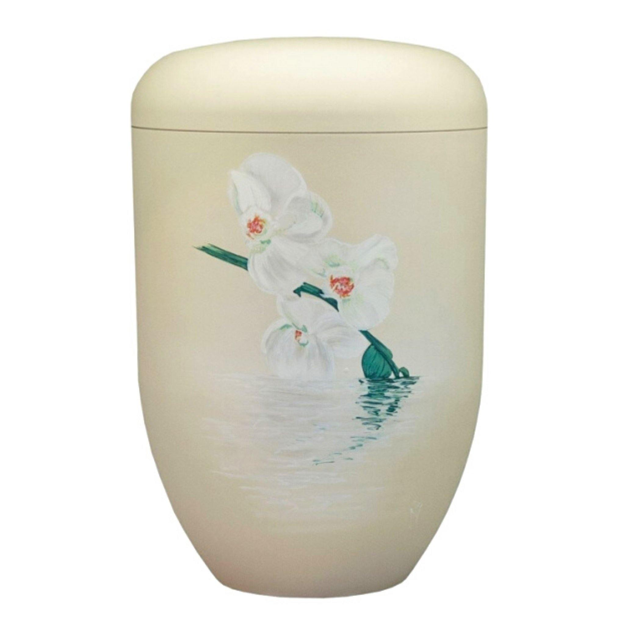 Polperro Orchid Handpainted Bio Cremation Ashes Urn - Urns UK