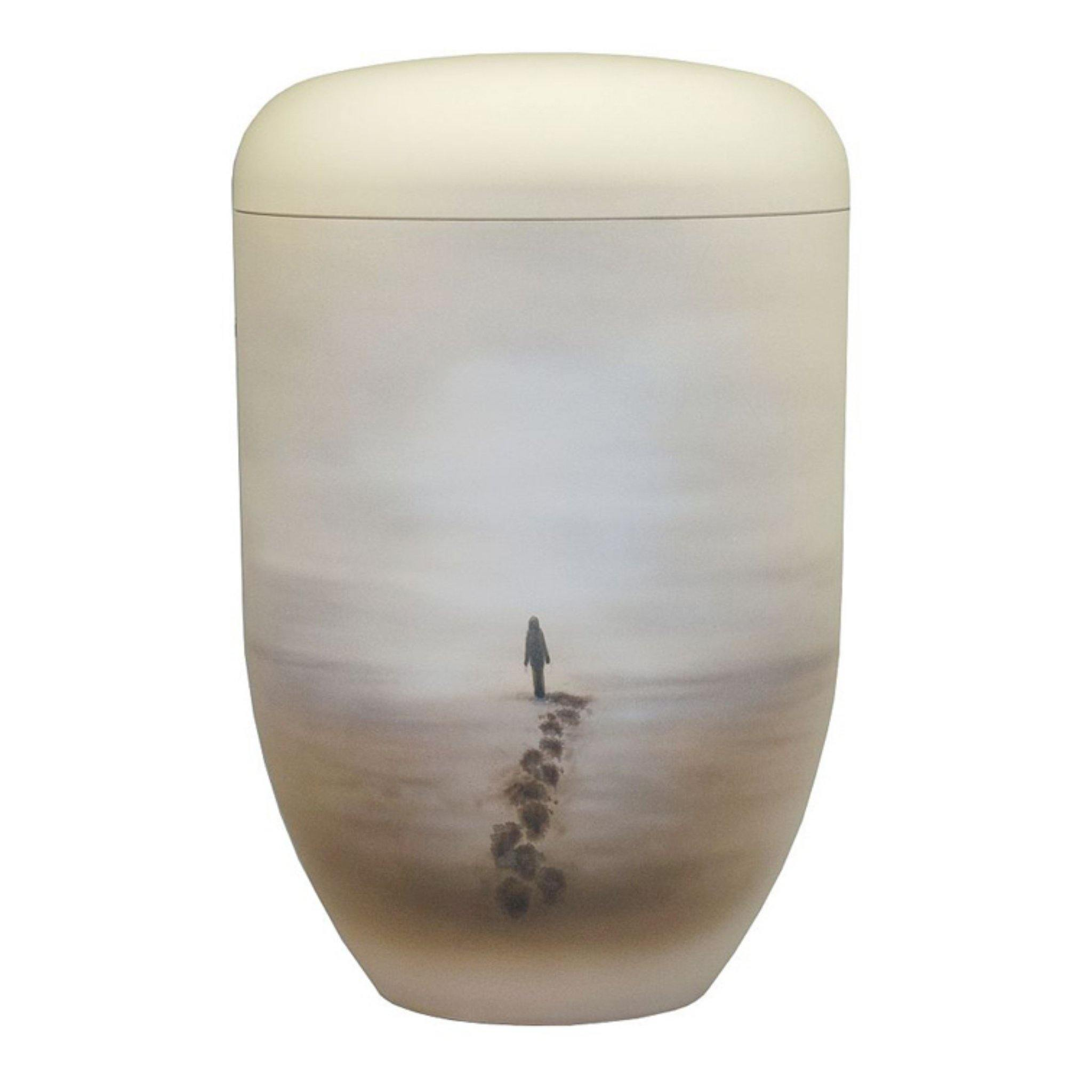 Polperro Farewell Footprints Handpainted Bio Cremation Ashes urn - Urns UK