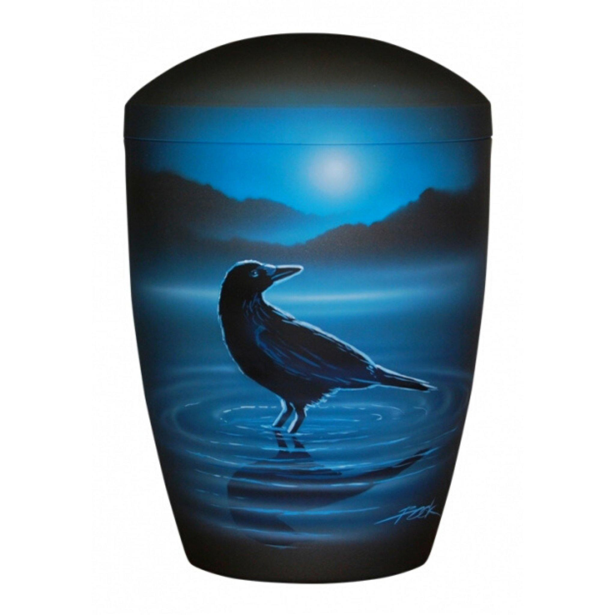Polperro Raven Lake Handpainted Bio Cremation Ashes Urn - Urns UK