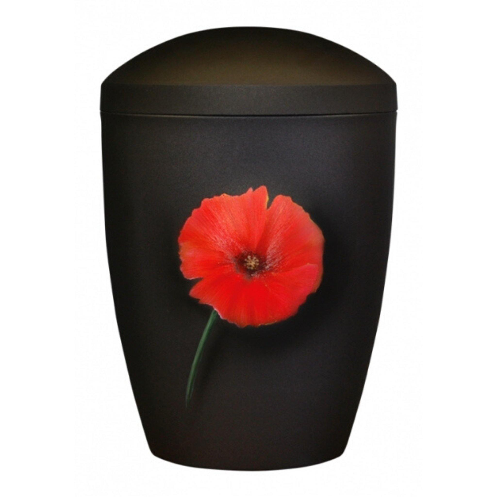 Polperro Painted Poppy Handpainted Bio Cremation Ashes Urn - Urns UK