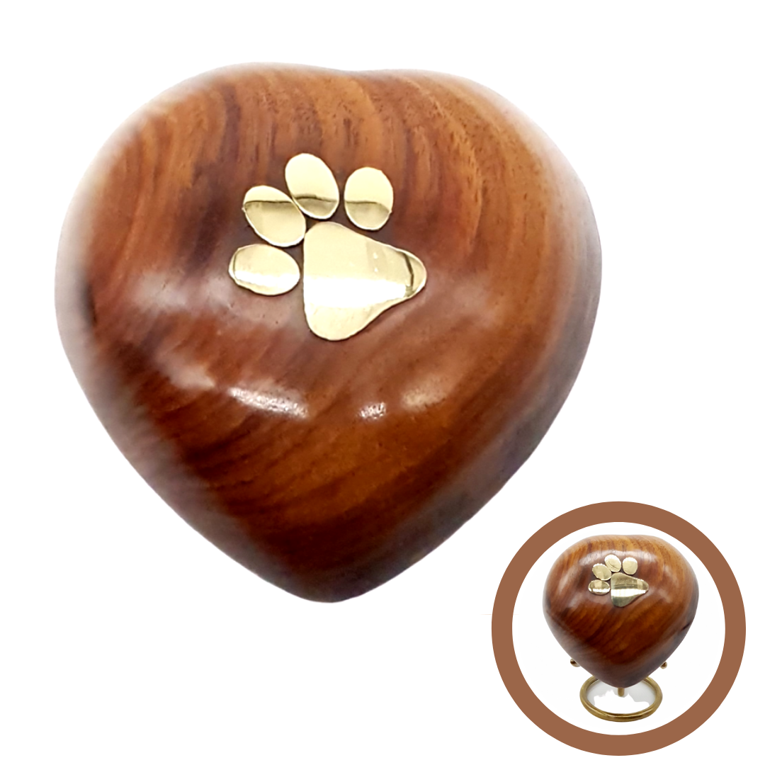 Woodbury Heart Paw Cremation Ashes Keepsake Urn - Urns UK