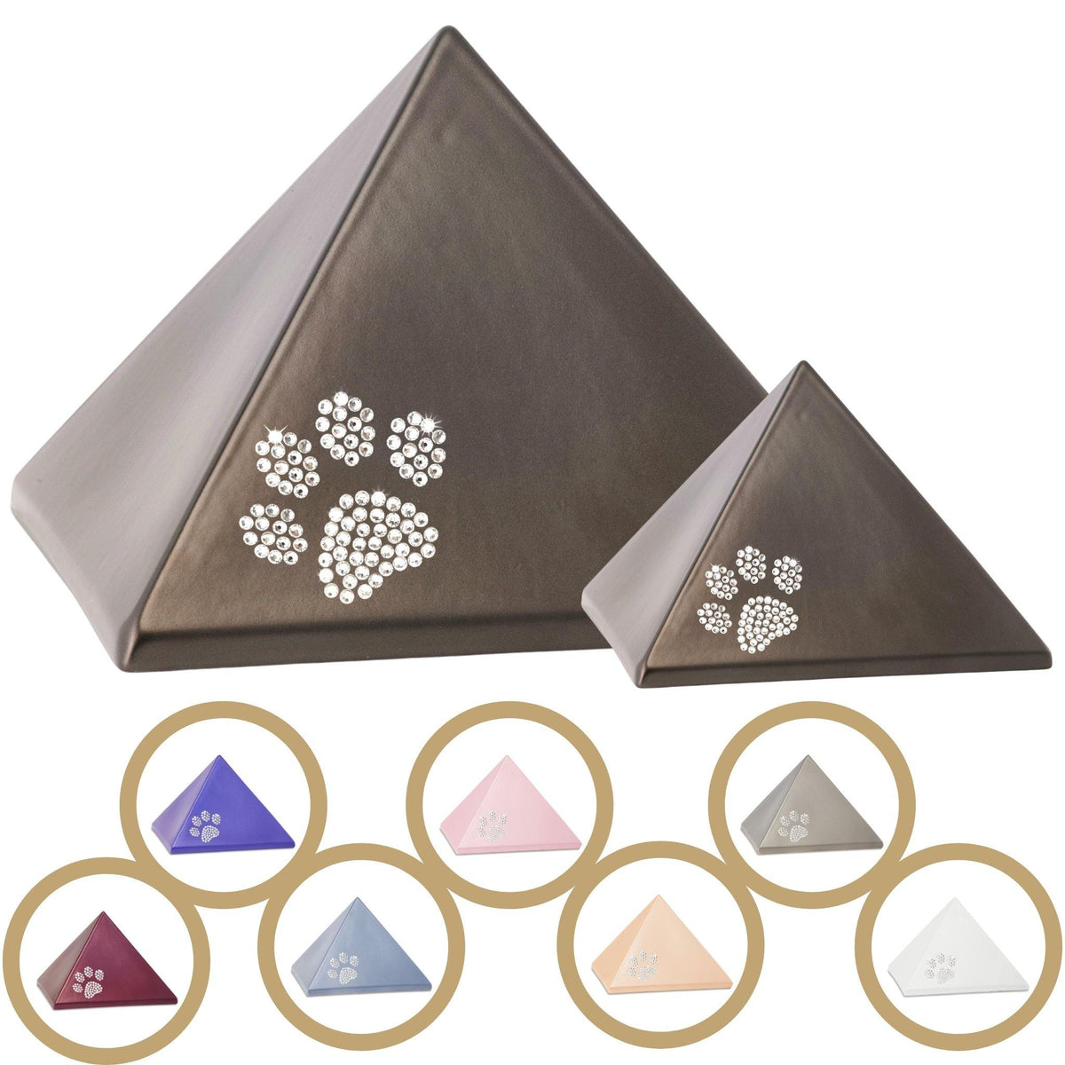 Penrith Crystal Paw Pyramid Cremation Ashes Urn - Urns UK