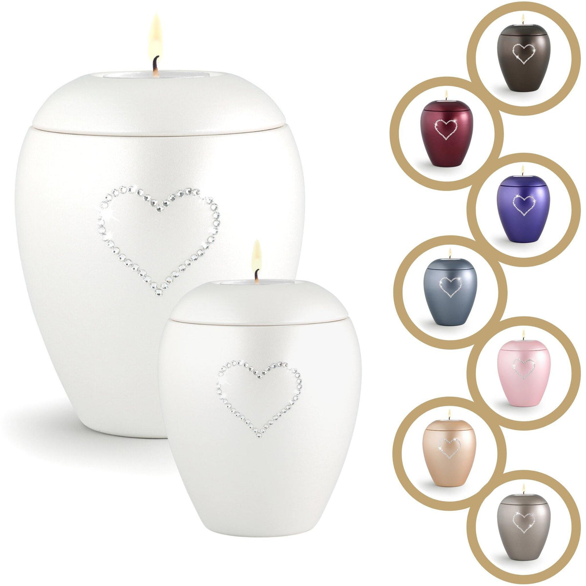 Ventnor Crystal Heart Candle Cremation Ashes Urn - Urns UK