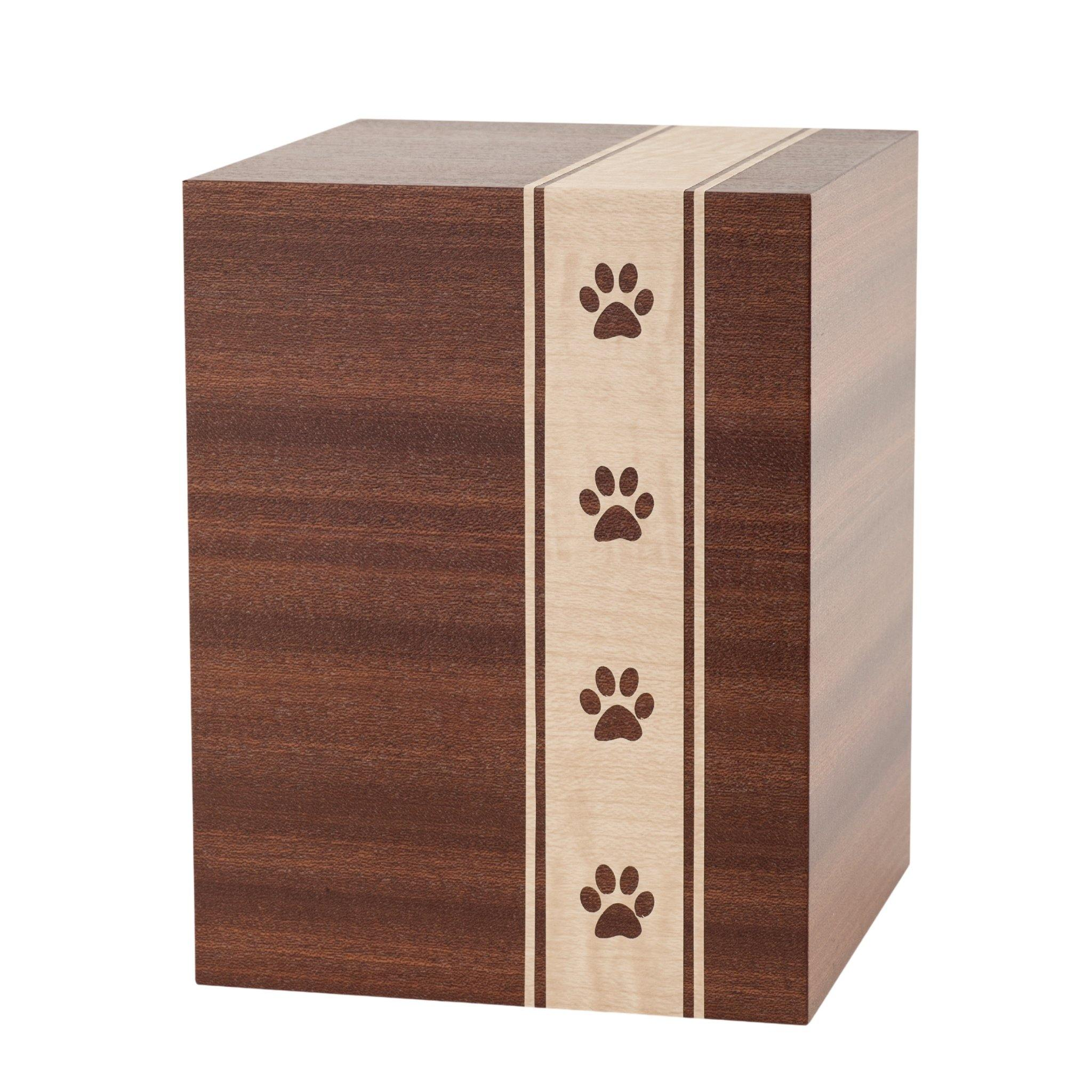 Woodbridge Wood Paws Mahogany Cremation Ashes Urn - Urns UK