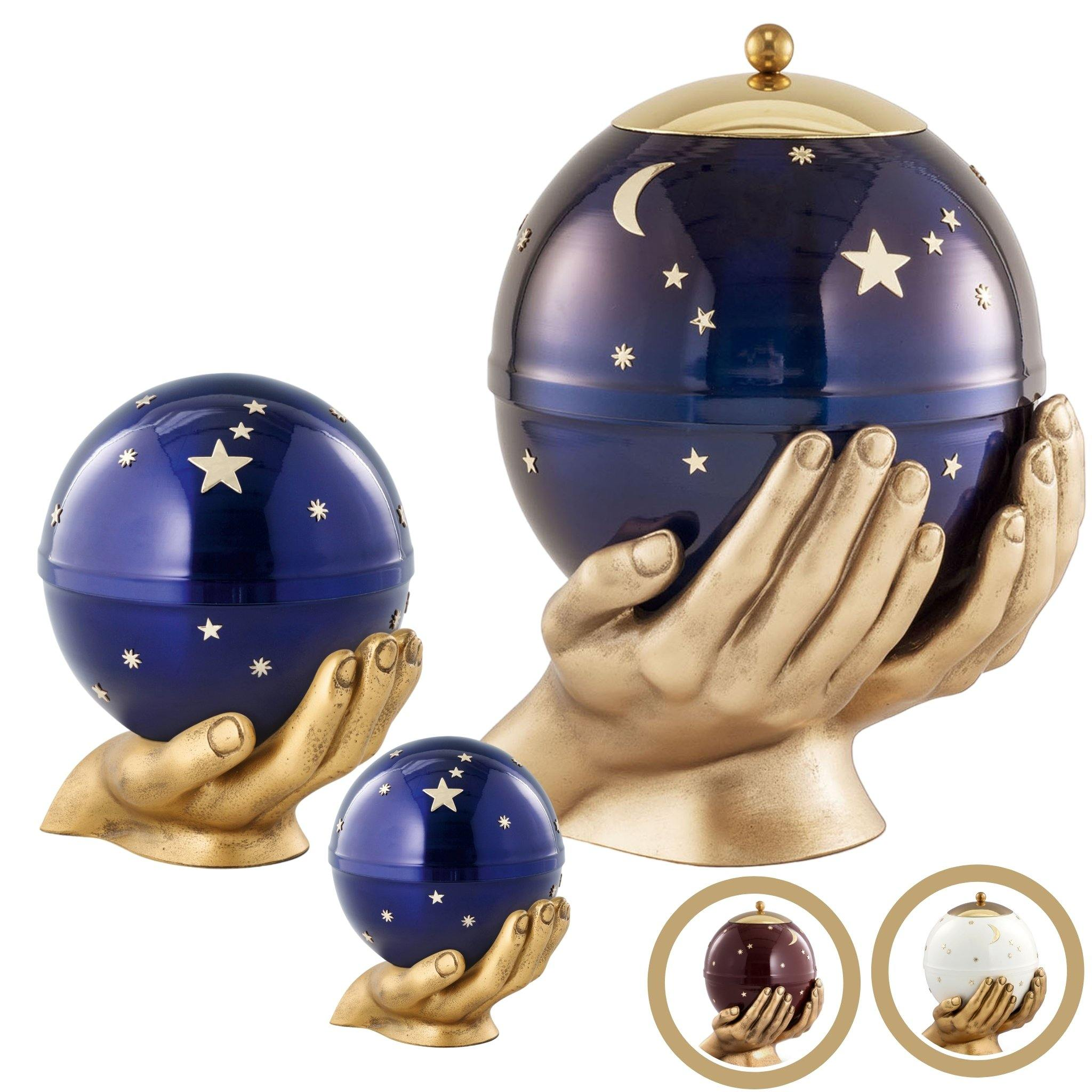 Southsea Metal Moon and Stars Cremation Ashes Urn - Urns UK