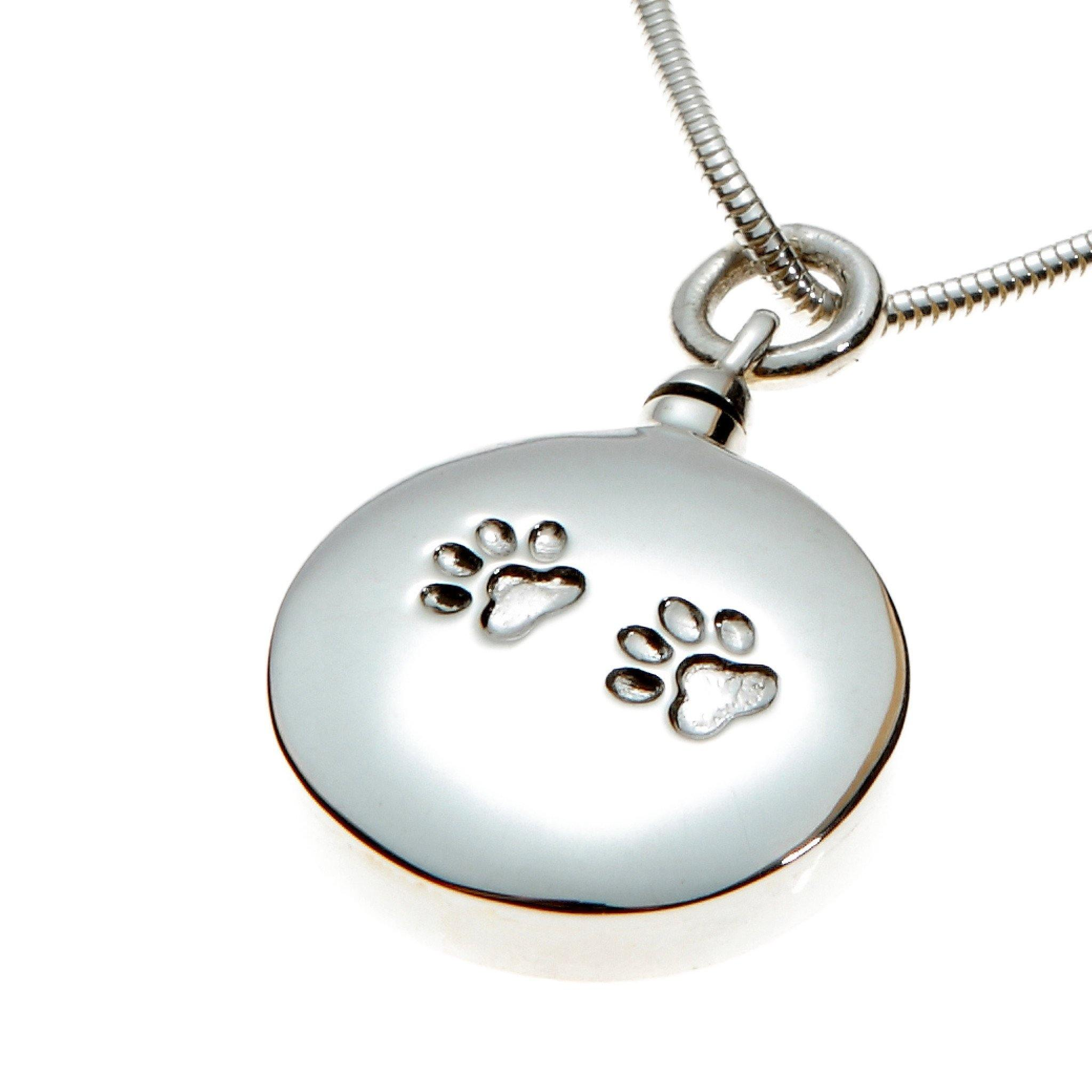 Mayfair Emb Paw Round Cremation Ashes Pendant 925 Silver - Urns UK