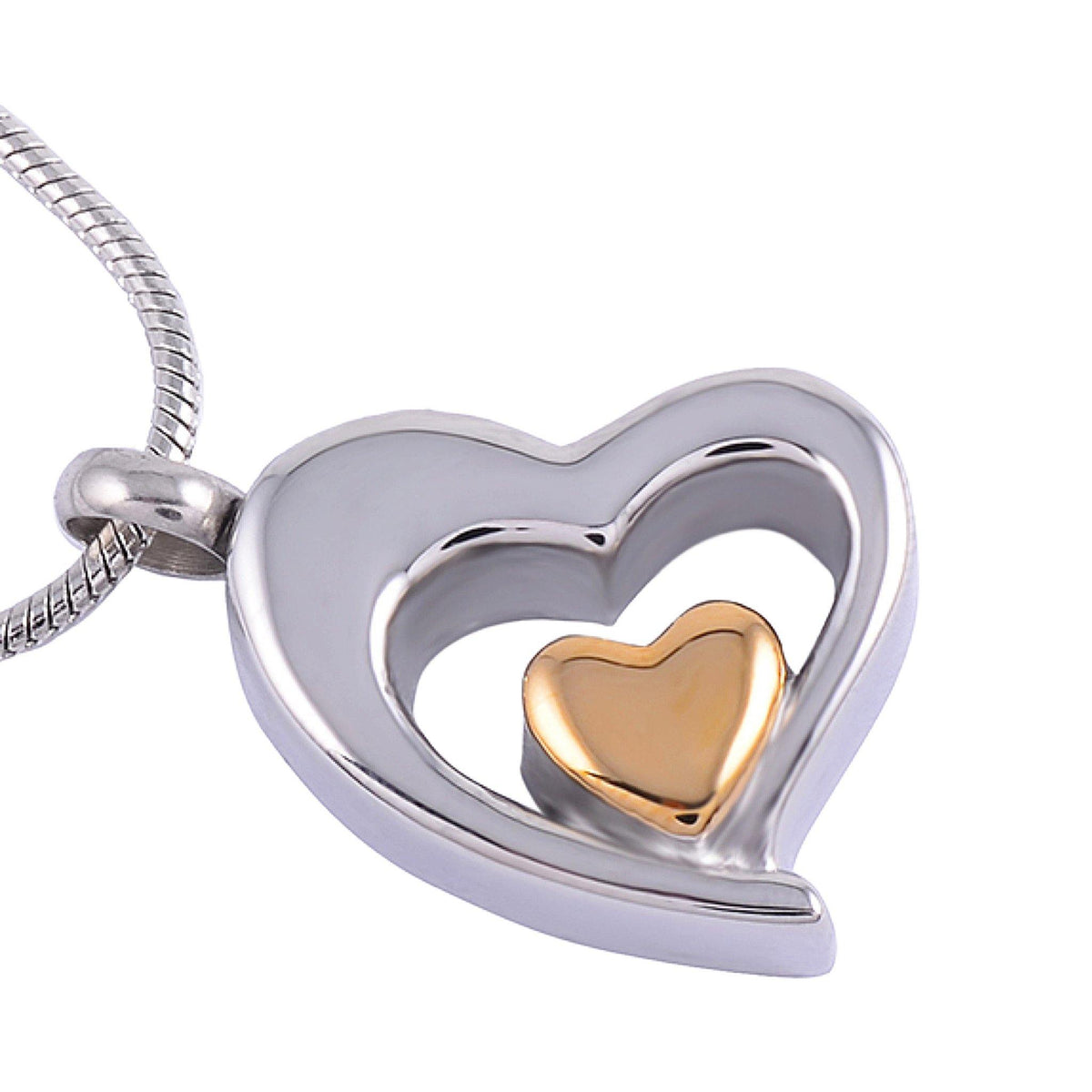 Teadrop Heart in Heart Cremation Ashes Pendant Design 60 - Urns UK