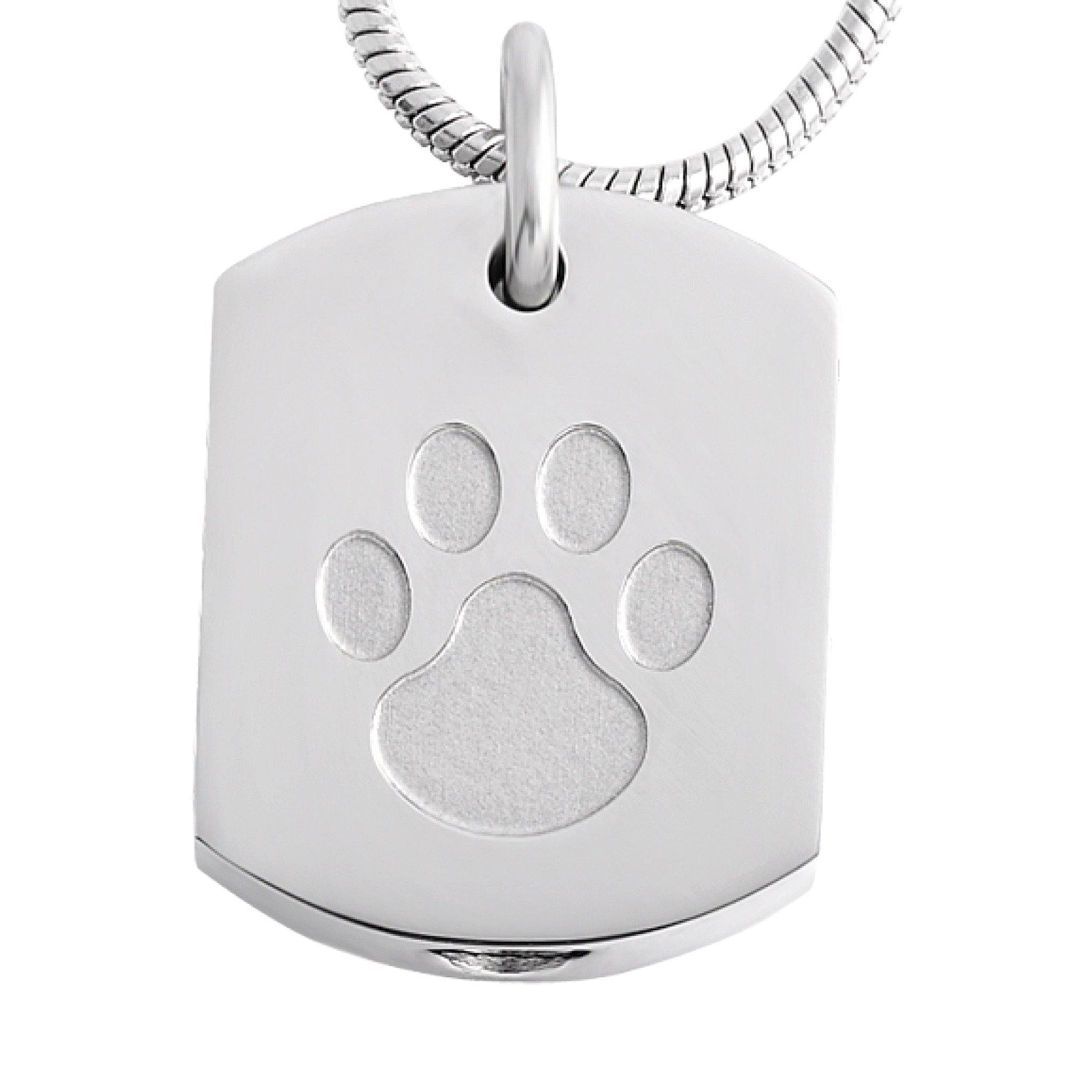 Square with Paw Cremation Ashes Pendant Design 77 - Urns UK