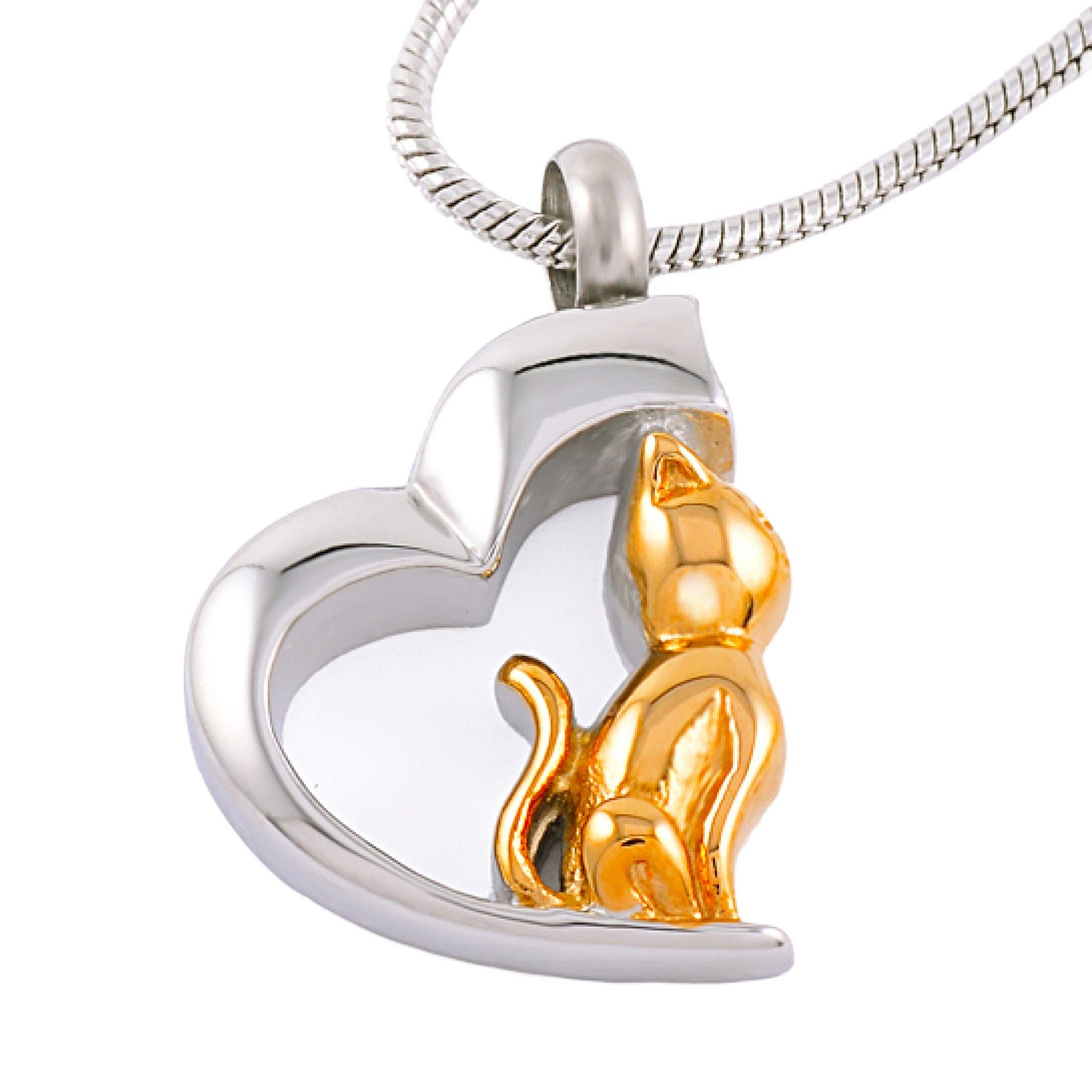 Heart with Cat Cremation Ashes Pendant Design 78B - Urns UK