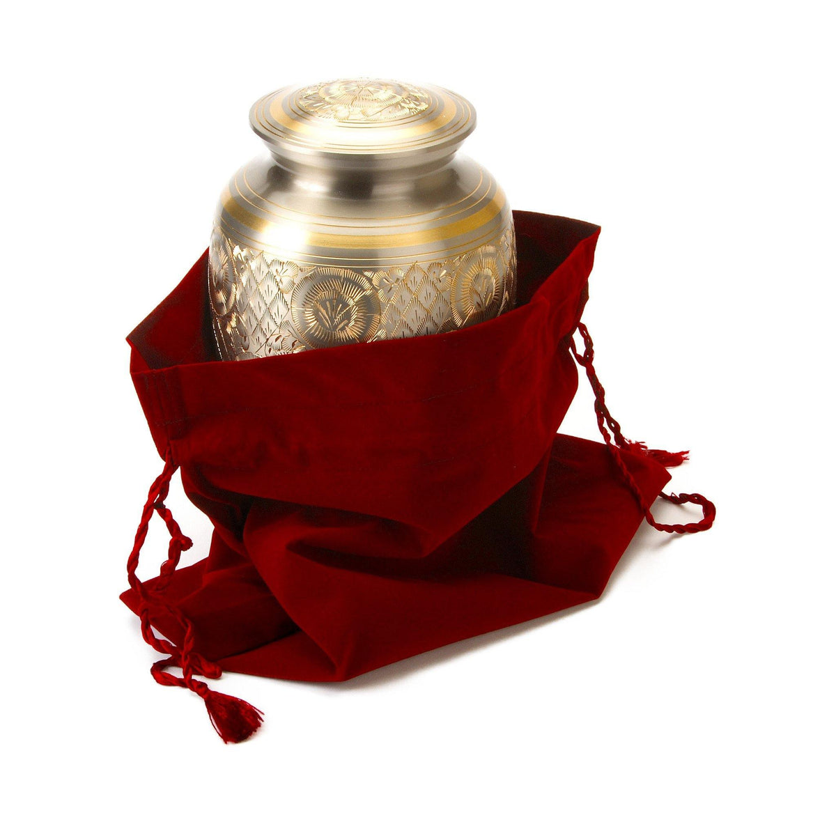 Velvet Cremation Ashes Urn Bag Red - Urns UK