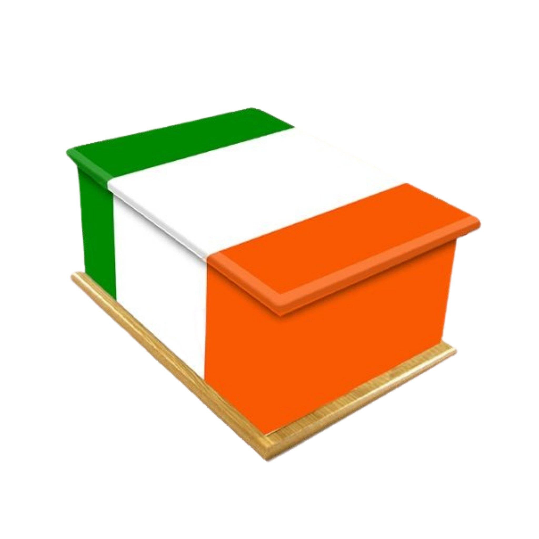Irish Flag Wooden Cremation Ashes Urn Adult - Urns UK