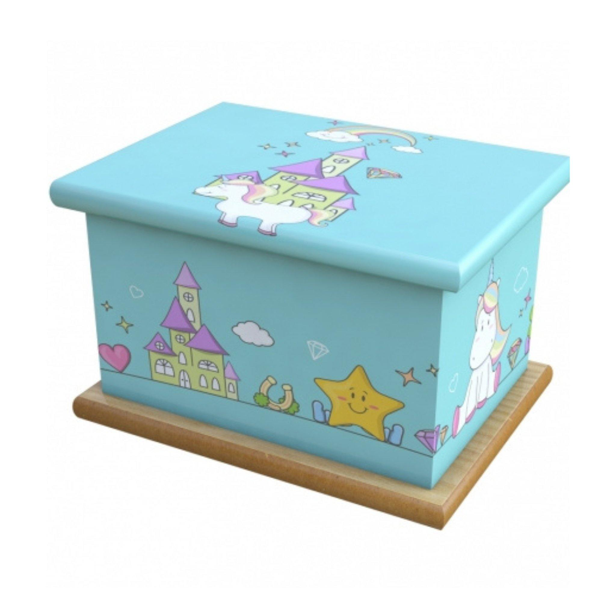 Unicorn Castle Cremation Ashes Wooden Child/Infant Urn - Urns UK