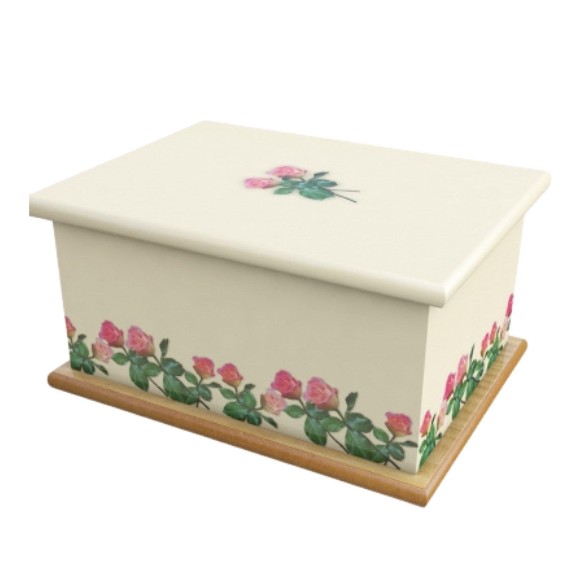 Wooden Urn Cream Roses Adult - Urns UK