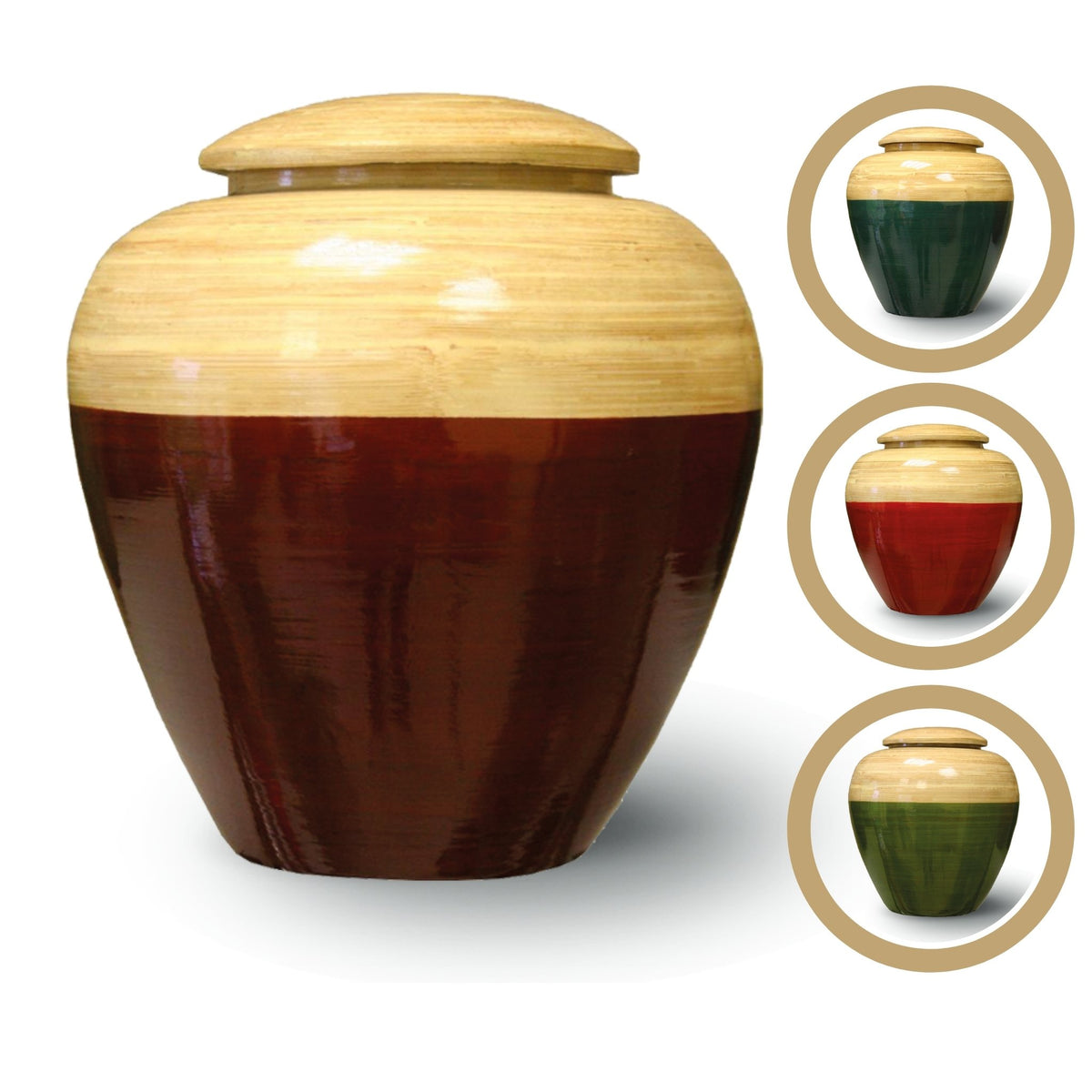 Bamboo Shine Adult Cremation Ashes Urn Brown