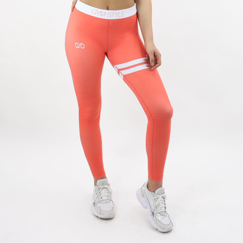 GYMSTYLE-Shiny_Coral-Leggings-Diagonal_Front2
