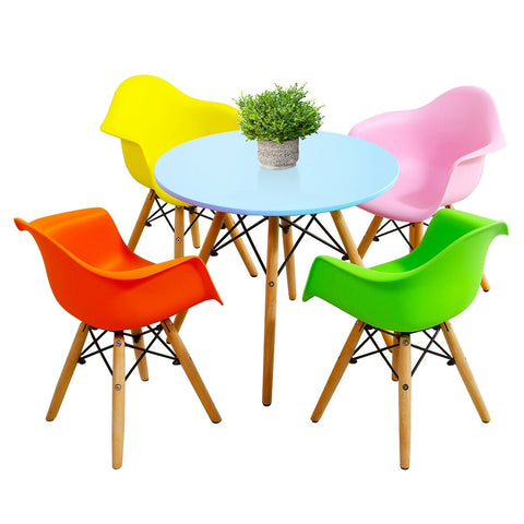 5 Piece Kids Mid-Century Colorful Table Chair Set - Baby Mega Mall