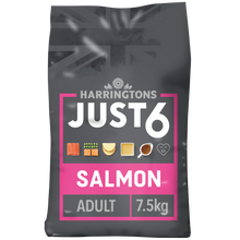 Load image into Gallery viewer, Harringtons Just 6 Salmon & Vegetable Dry Dog Food 7.5kg