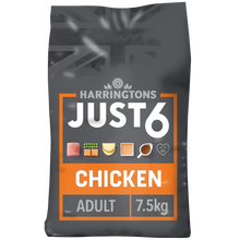 Load image into Gallery viewer, Harringtons Just 6 Chicken & Vegetable Dry Dog Food 7.5kg