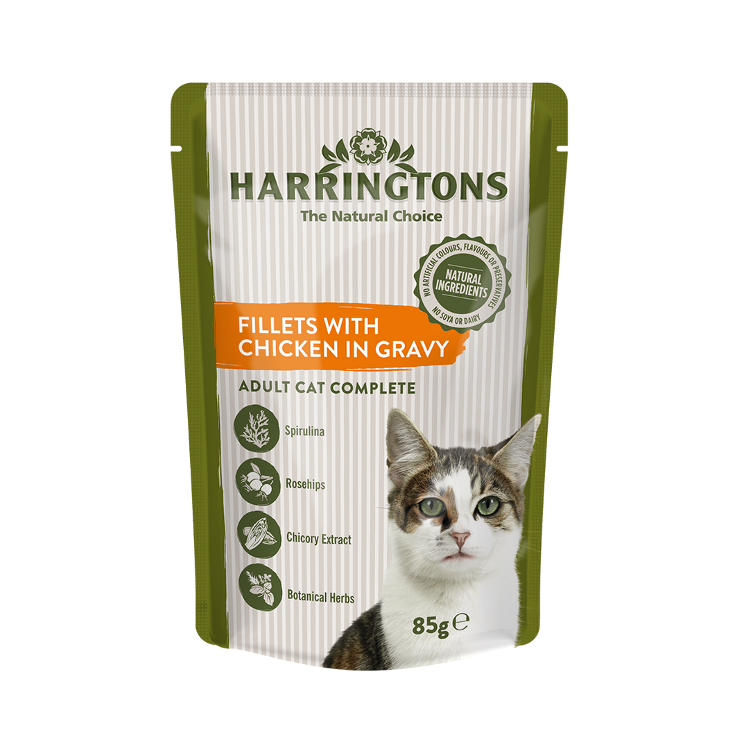 Harringtons Wet Cat Fillets with Chicken in Gravy