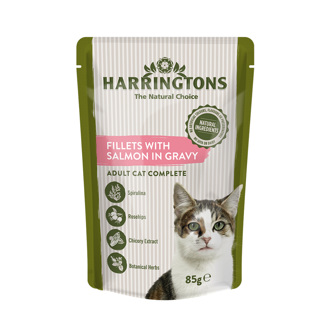 Harringtons Wet Cat Fillets with Salmon in Gravy