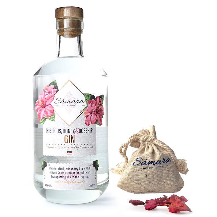 Sámara Gin - Inspired by Costa Rica, 70 cl + Free Rose Petals bag