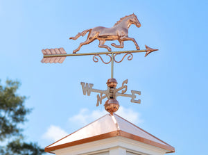 Pure Copper Galloping Horse Weathervane Item 1974P on a Manchester Cupola on top of a Roof