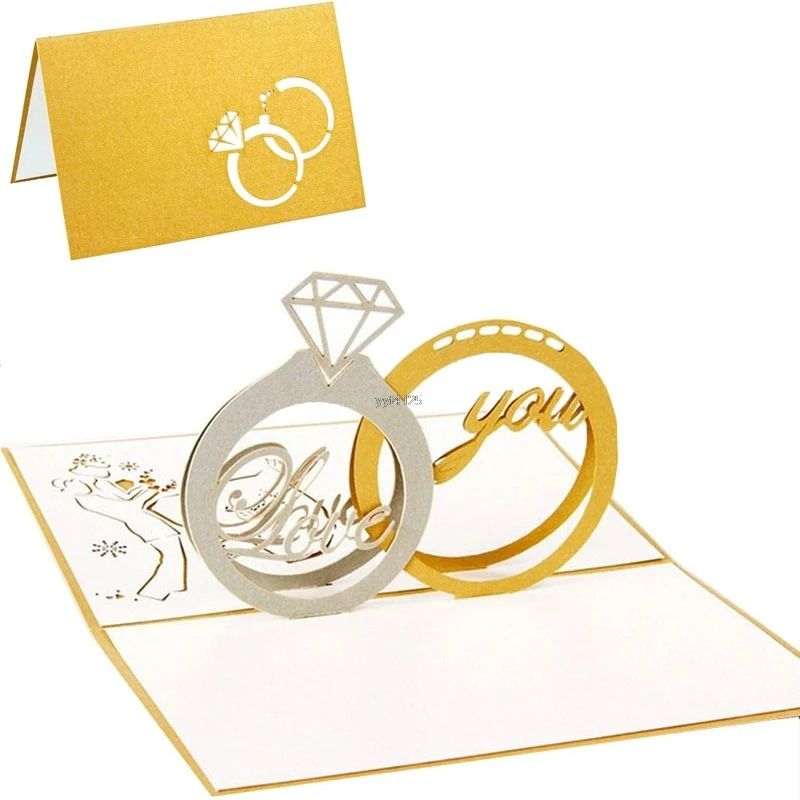 Wedding rings 3d popup greeting card