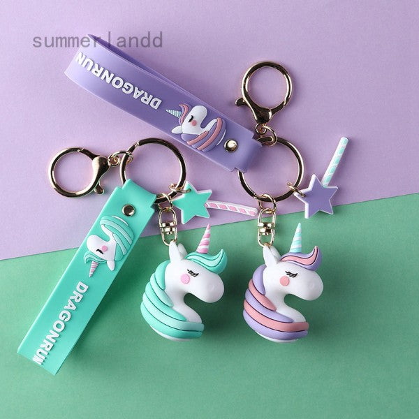 3D Unicorn Face Keychain