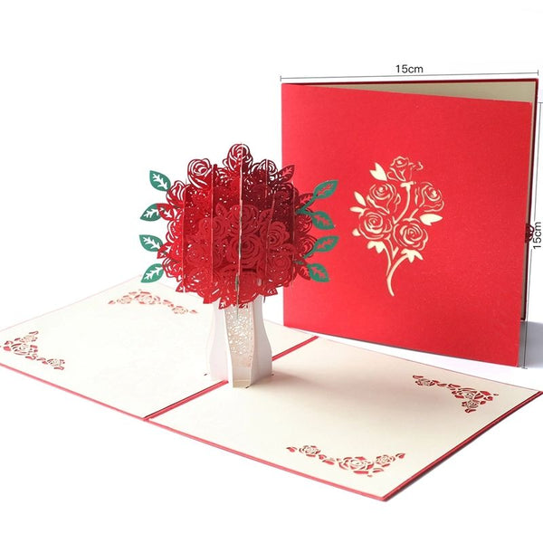 3D Rose Bouquet Popup Card (Greeting Card)