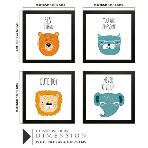 Cute Animals Photo Frames (Set of 4)