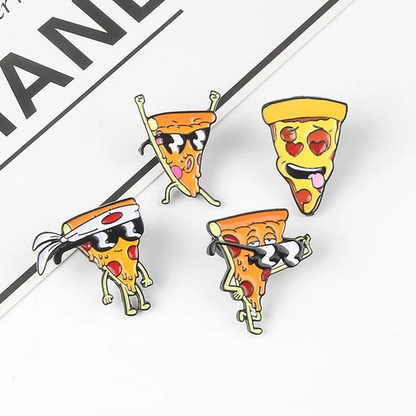 Cool Pizza Slices Lapel Pin Badge Set of 4