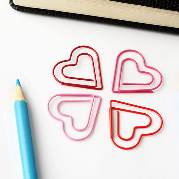 Heart Shaped Paper Clip Set Of 10