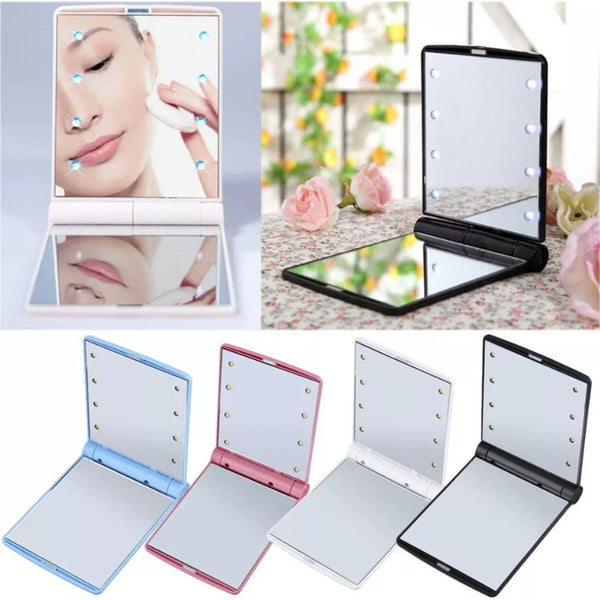 Travel Makeup Mirror with 8 LEDs