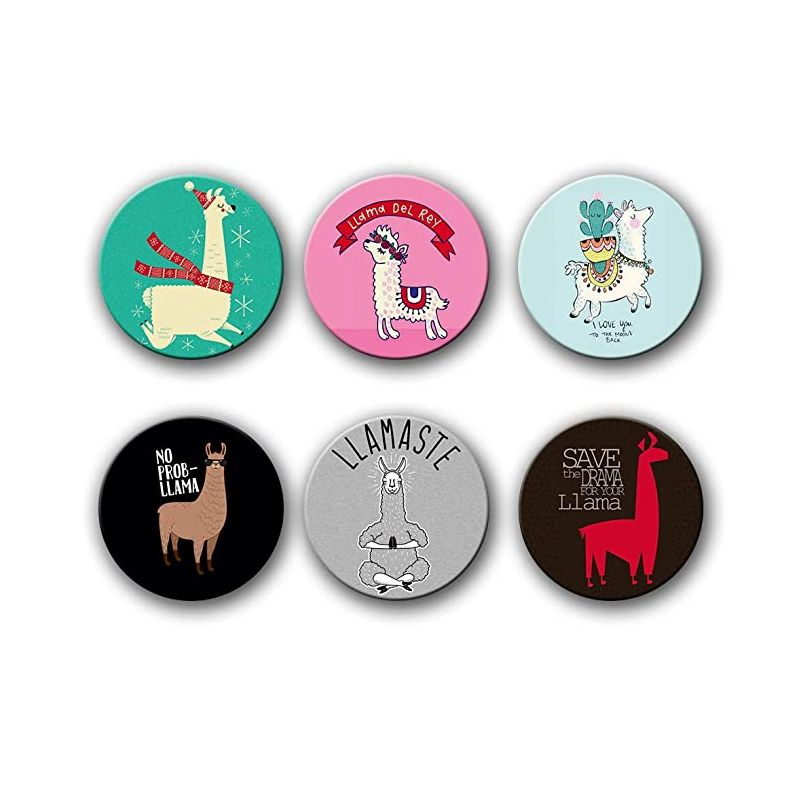Llama Button Badges (Set of 6)