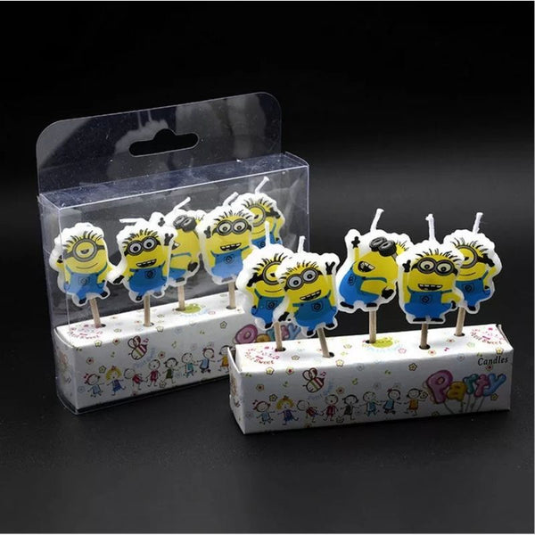 Minion Candles Birthday Cake Topper  (5 Pcs)
