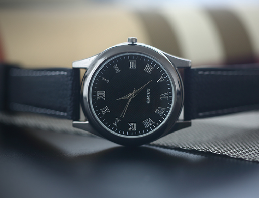 Watch With Lighter (Black Dial & Silver Base)