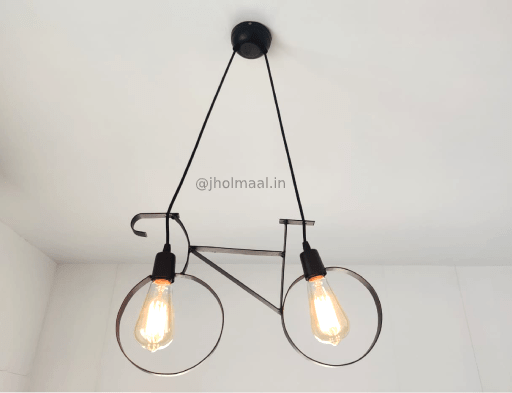 Antique Cycle Hanging Light (With 2 Vintage Bulbs)